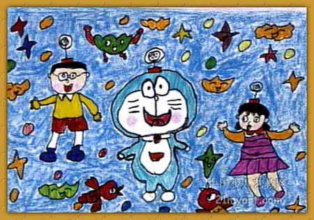 机器猫儿童画2幅