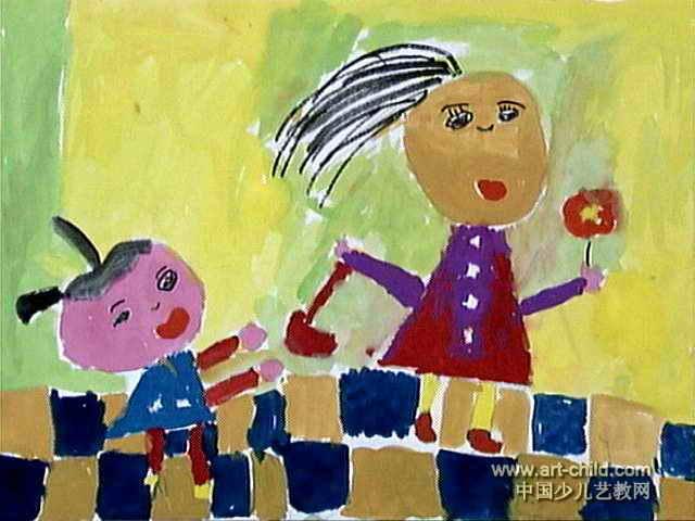 儿童 水粉画/妈妈回来啦儿童水粉画属于水粉画,长480px,宽640px,作者梁...