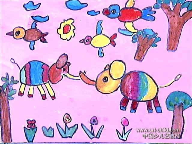 大象拔河儿童画作品欣赏