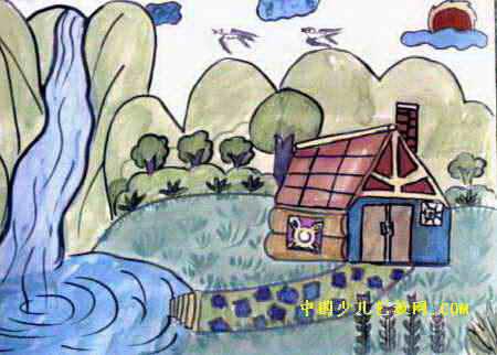 美丽的大自然儿童画属于水粉画,大小为322x450像素,作者牛钦天,来自