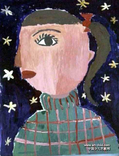 儿童画 牛栋锐/我的妈妈儿童画属于水粉画,长640px,宽489px,作者牛栋锐,...