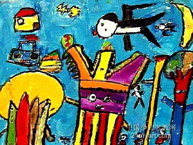 爱跳舞的树儿童画作品欣赏