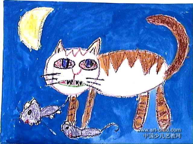 猫捉老鼠儿童画7幅(第3张)