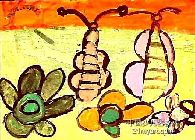 琵琶水粉画-琵琶蝴蝶儿童画图片