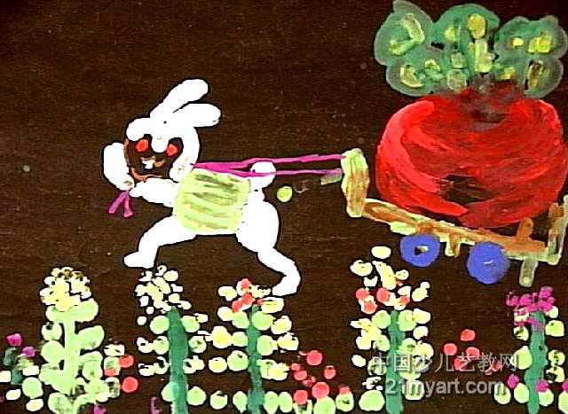 小白兔收萝卜儿童画作品欣赏