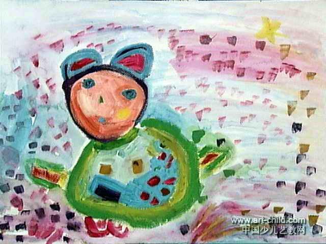 儿童画 施懿珊/小乖熊儿童画,此幅水粉画尺寸为480x640像素,作者施懿珊,...