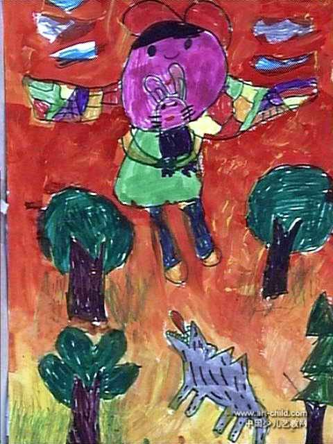 儿童画 马璇/假如我有翅膀儿童画属于水粉画,作品长640px,宽480px,作者...