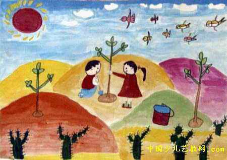 我在沙漠种树儿童画