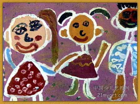 幸福一家人儿童画3幅