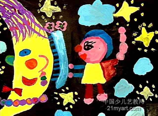 我给月亮巧打扮儿童画属于水粉画,长470px,宽640px,作者孙静苡,女,6岁