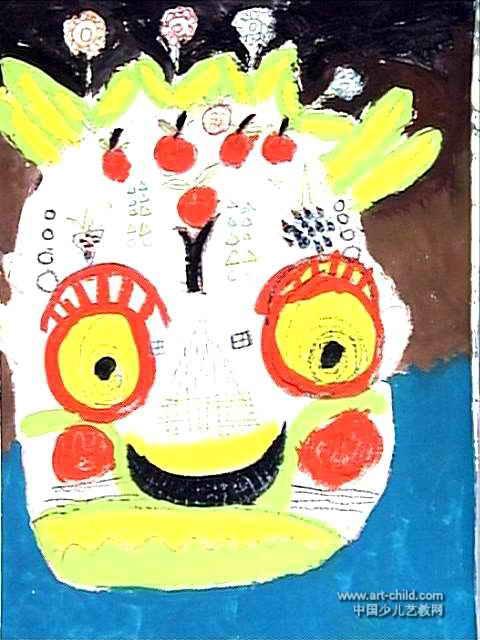 傩舞面具儿童画3幅