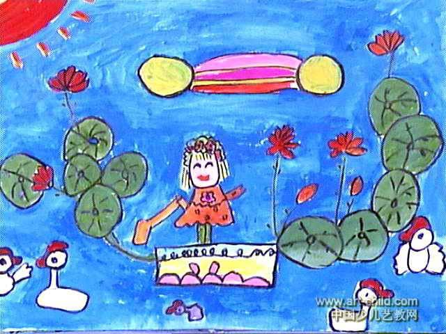 我爱家乡的小河儿童画作品欣赏