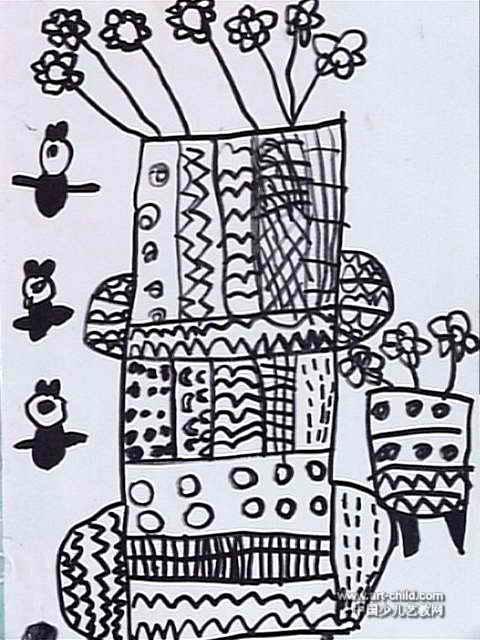 花瓶儿童画 一 8幅 第3张