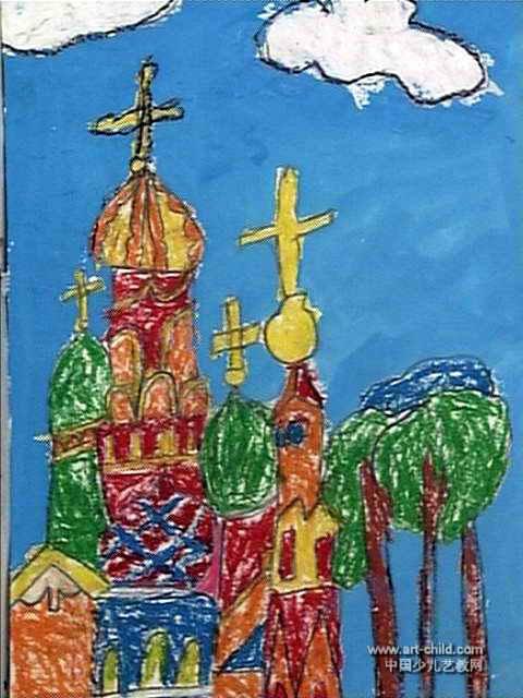城堡儿童画属于水粉画,作品长640px,宽480px,作者吕未央,女,4岁,就读