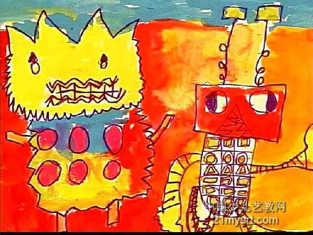 大怪兽儿童水粉画