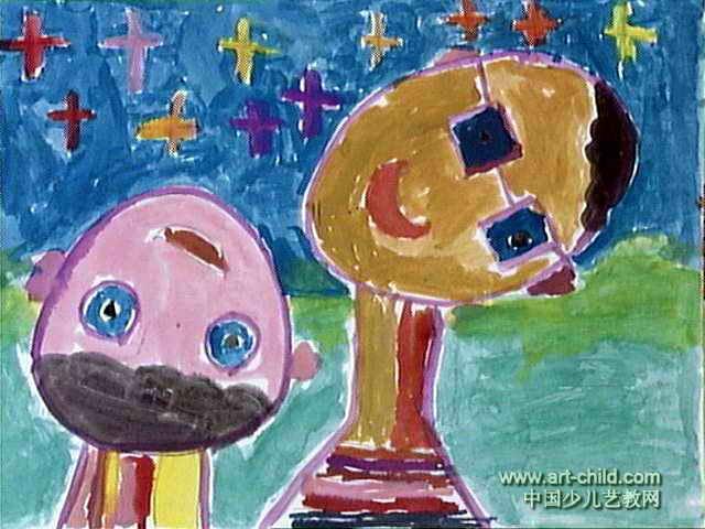 听故事儿童画,此幅水粉画尺寸为480x640像素