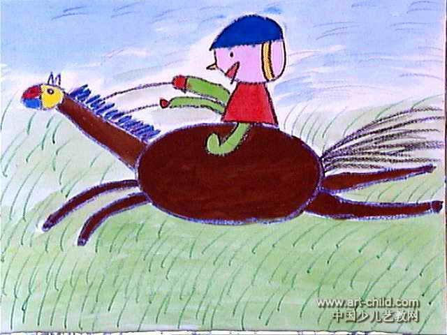 草原骑士儿童画图片