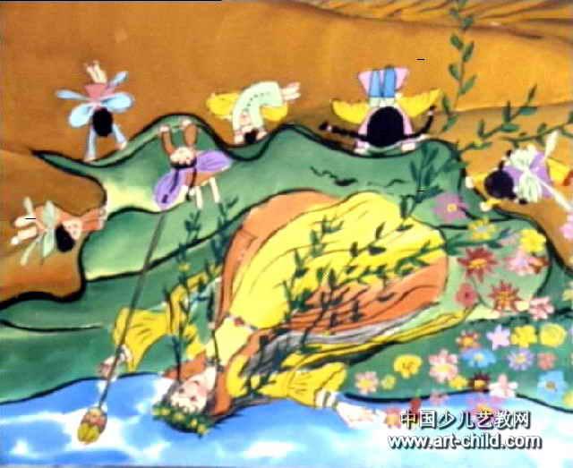 给沙漠铺绿毯儿童画作品欣赏