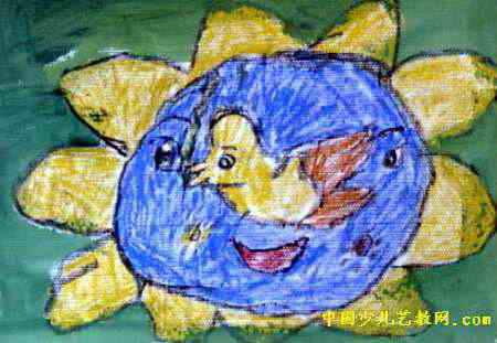 热爱和平儿童画属于水粉画