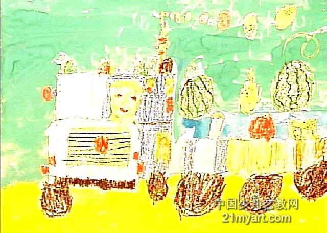 看看我的水果车儿童画作品欣赏