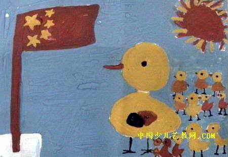 儿童画 袁钊阳/我们也来升国旗儿童画属于水粉画,作品长311px,宽450px,...