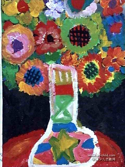 花瓶幼儿园儿童画图片