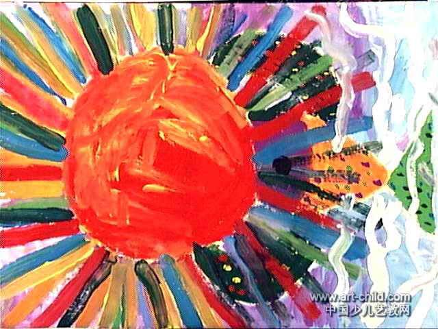 日出儿童画,此幅水粉画尺寸为480x640像素,作者马驰,女,5岁,来自南阳