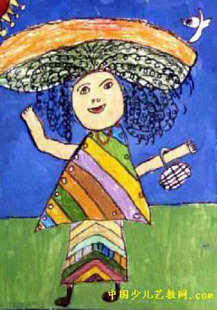 时髦的妈妈儿童画
