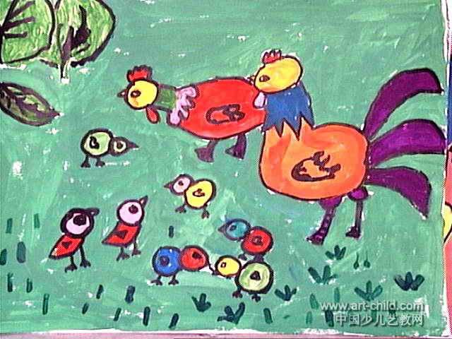 鸡的一家儿童画5幅图片