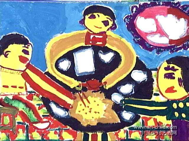 包饺子儿童画3幅