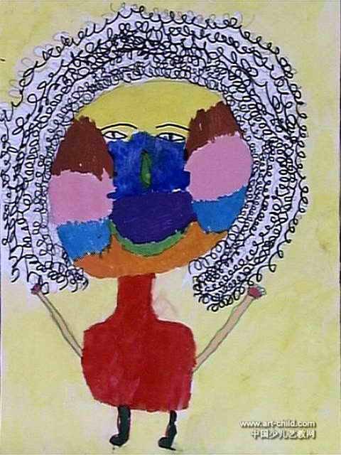 儿童画 西峡县/我的妈妈儿童画,此幅水粉画大小为640x480像素,作者陶锐意,...