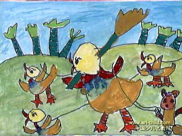 爱劳动的小鸭儿童画作品欣赏