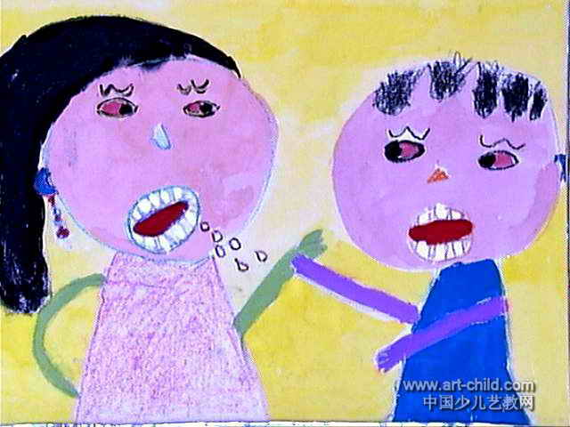 爸爸妈妈吵架了儿童画图片