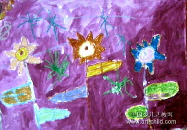 霞光中的花儿童画