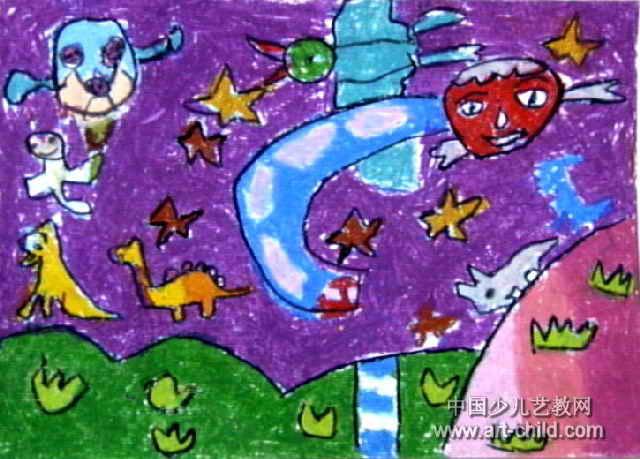 太空旅行儿童画4幅图片