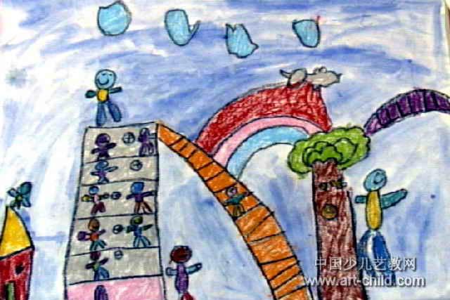 建筑工人本领大儿童画