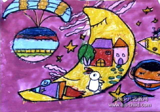 儿童画,这幅水粉画作品长448px,宽640px,作者卢鹏飞,男,5岁,就读许昌