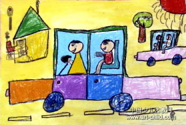 爸爸会开车啦儿童画
