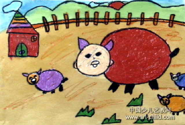 猪家族儿童画图片