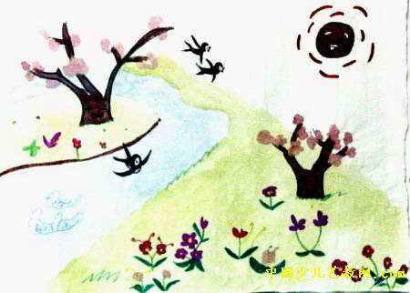 幼儿园简笔画春天来了分享展示图片