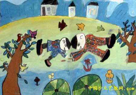 捉蛐蛐的样子-捉蟋蟀儿童画