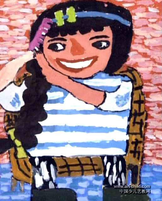 梳辫子的女孩子儿童画图片