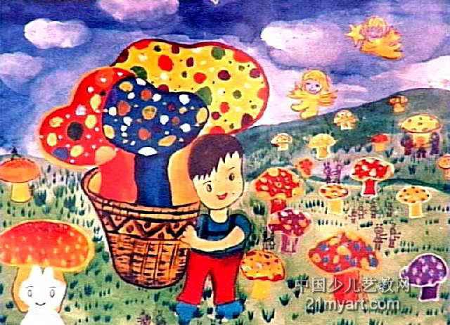 采蘑菇儿童画2幅