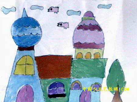 城堡儿童画属于水粉画,长336px,宽450px,作者王亚南,女,6.