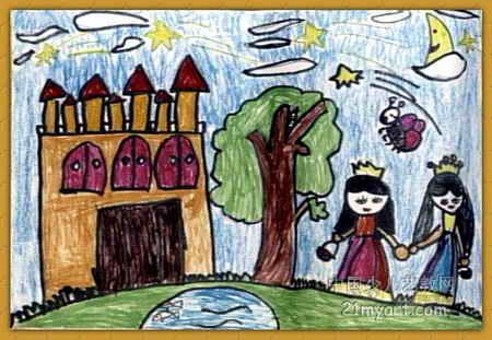 儿童画 卢穗清/美丽的夜晚儿童画,此幅水粉画尺寸为311x450像素,作者卢穗清...