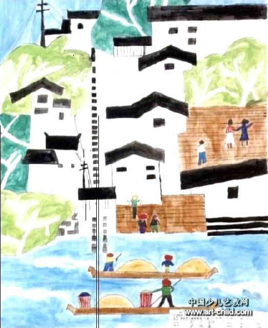 儿童画属于水彩画,作品长640px,宽523px,作者史贻森,男,10岁,就读海南