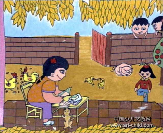 小丫读书儿童画作品欣赏