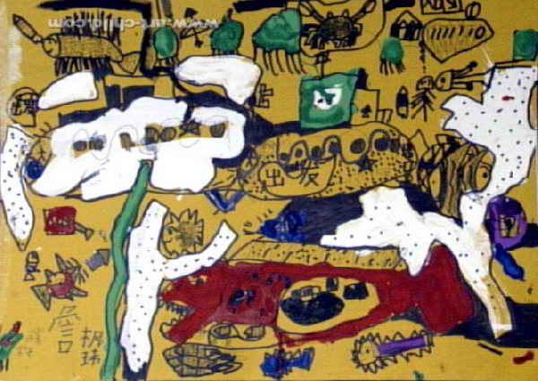儿童画,这幅水粉画作品长318px