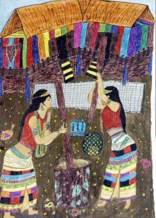 佤族风情儿童画作品欣赏