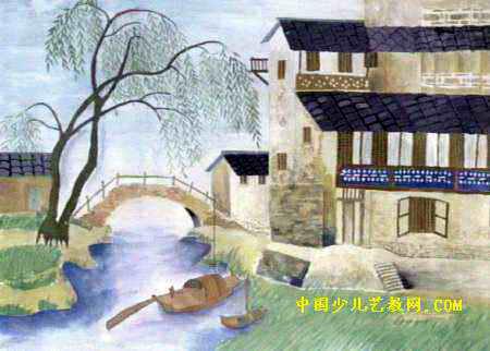 忆江南儿童画,这幅水粉画作品长322px,宽450px,作者兰征贵,女,14岁